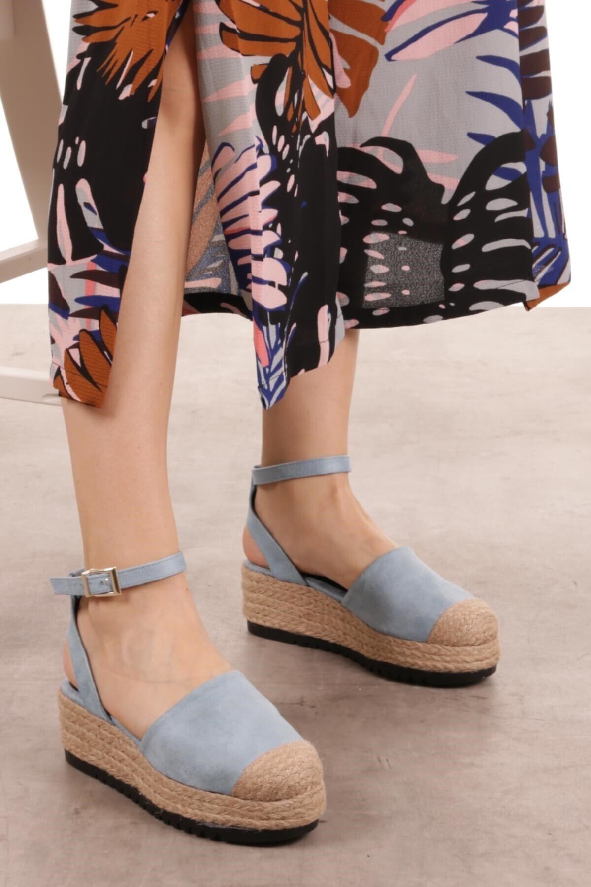 Mio Gusto Janet Mavi Dolgu Tabanlı Sandalet 2