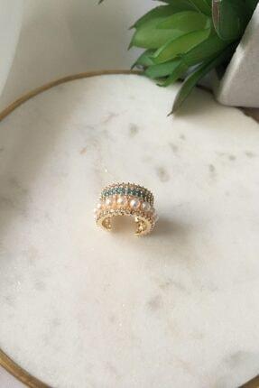 My Joyas Design Mavi Zirkon Taşlı&incili Kıkırdak Küpe