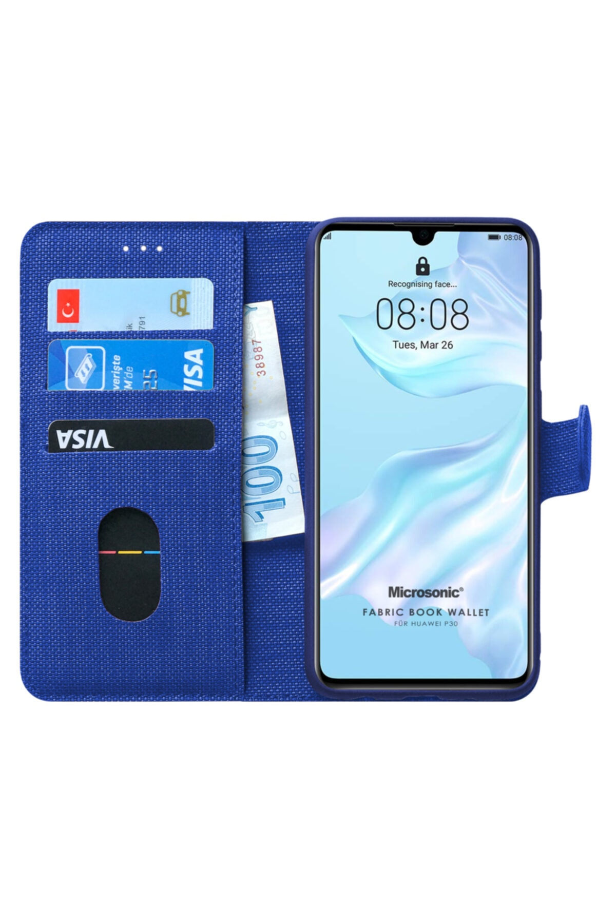 Microsonic P30 Kılıf, Microsonic Fabric Book Wallet 1