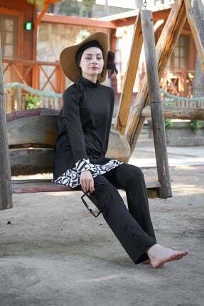 Marina Harf Desenli Basic Likralı Tam Kapalı Tesettür Mayo 1977 Siyah