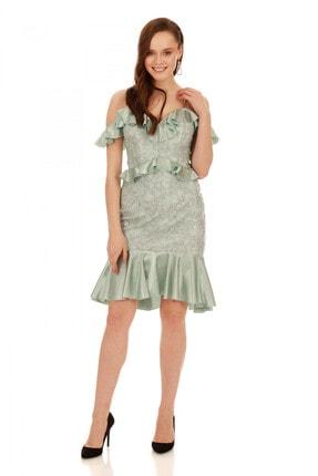 6ixty8ight Çağla Dantel Bel Yaka Fırfırlı Kısa Abiye Elbise