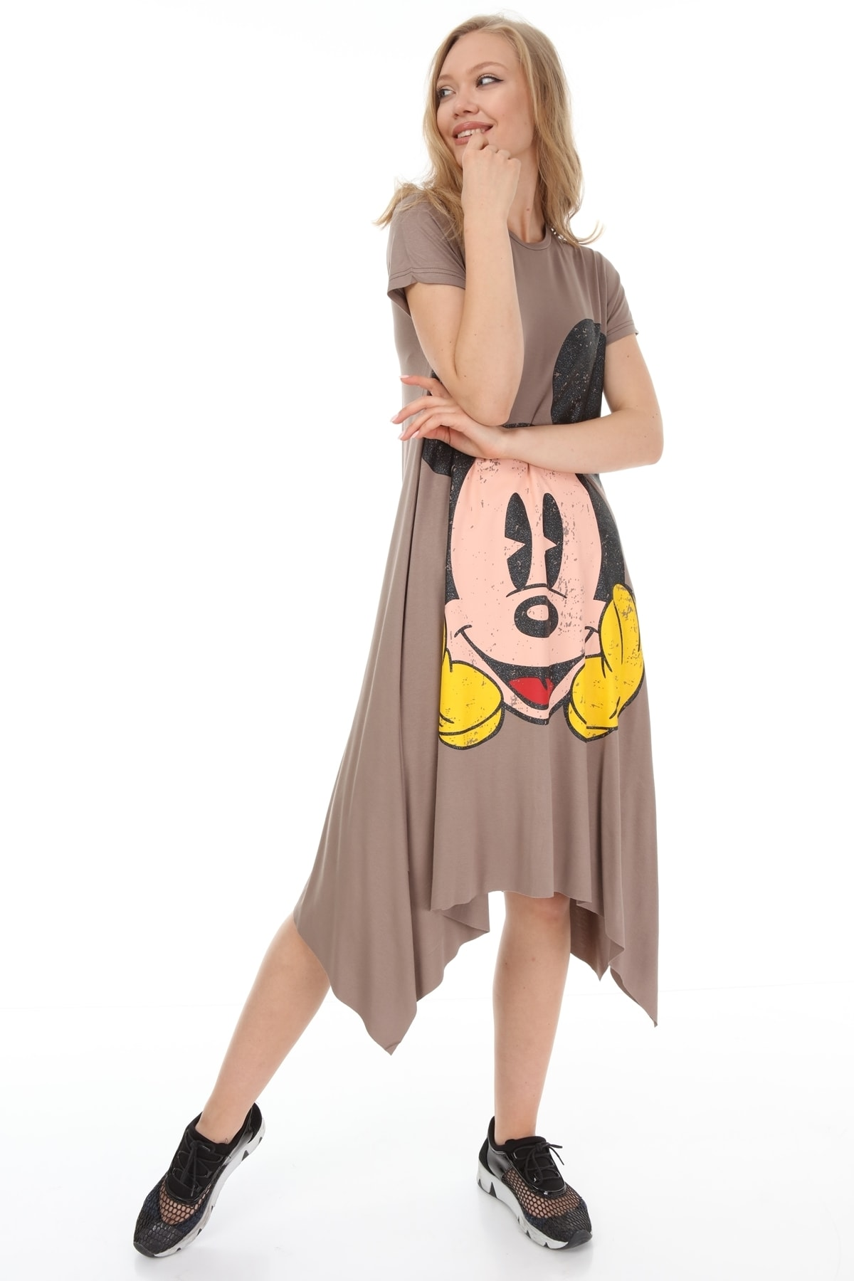 Suanye Vizon Mickey Baskılı Elbise 1