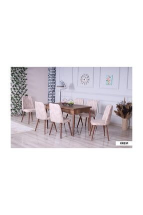 Stoker Velar Premıum Yemek Odası,yemek Masa Takımı 6 Sandalyeli Ahşap Ayaklı- Krem