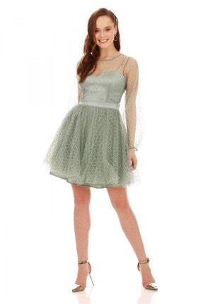6ixty8ight Çağla Tül Glitterli Uzun Kollu Abiye Elbise