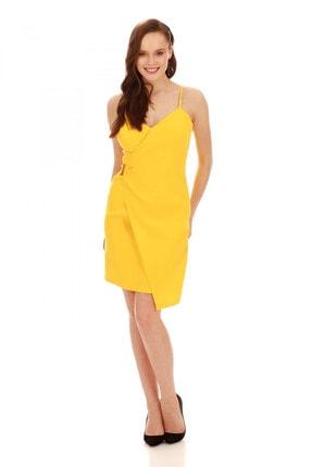 6ixty8ight Sarı Askılı Yandan Tokalı Kısa Abiye Elbise