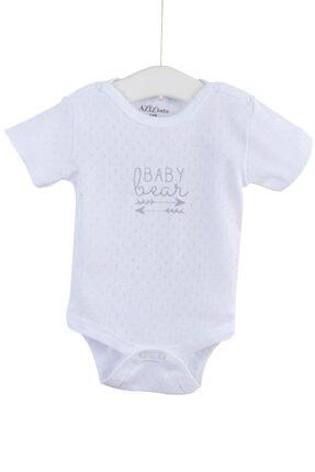 Aziz Bebe Kız Bebek Kısa Kollu Delikli Çıtçıtlı Badi 0-12 Ay AZZ001711