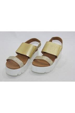 İnci Kadın Gold Hakiki Deri Sandalet