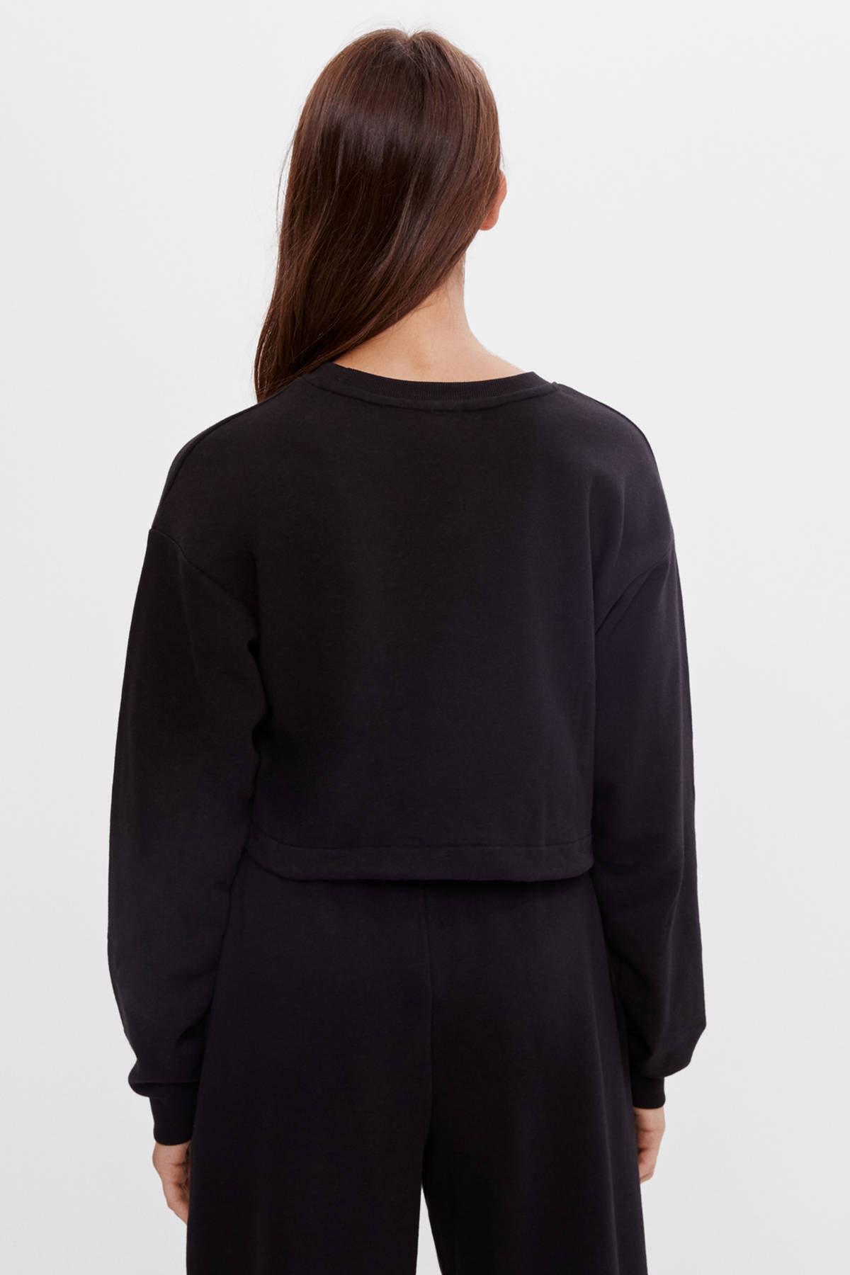 Bershka Kadın Siyah Baskılı Bağcıklı Sweatshirt 2