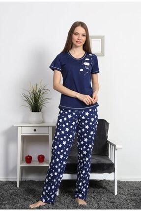 VİENETTA Kadın Lacivert Kısa Kol Normal Beden Suprem Pijama Takım