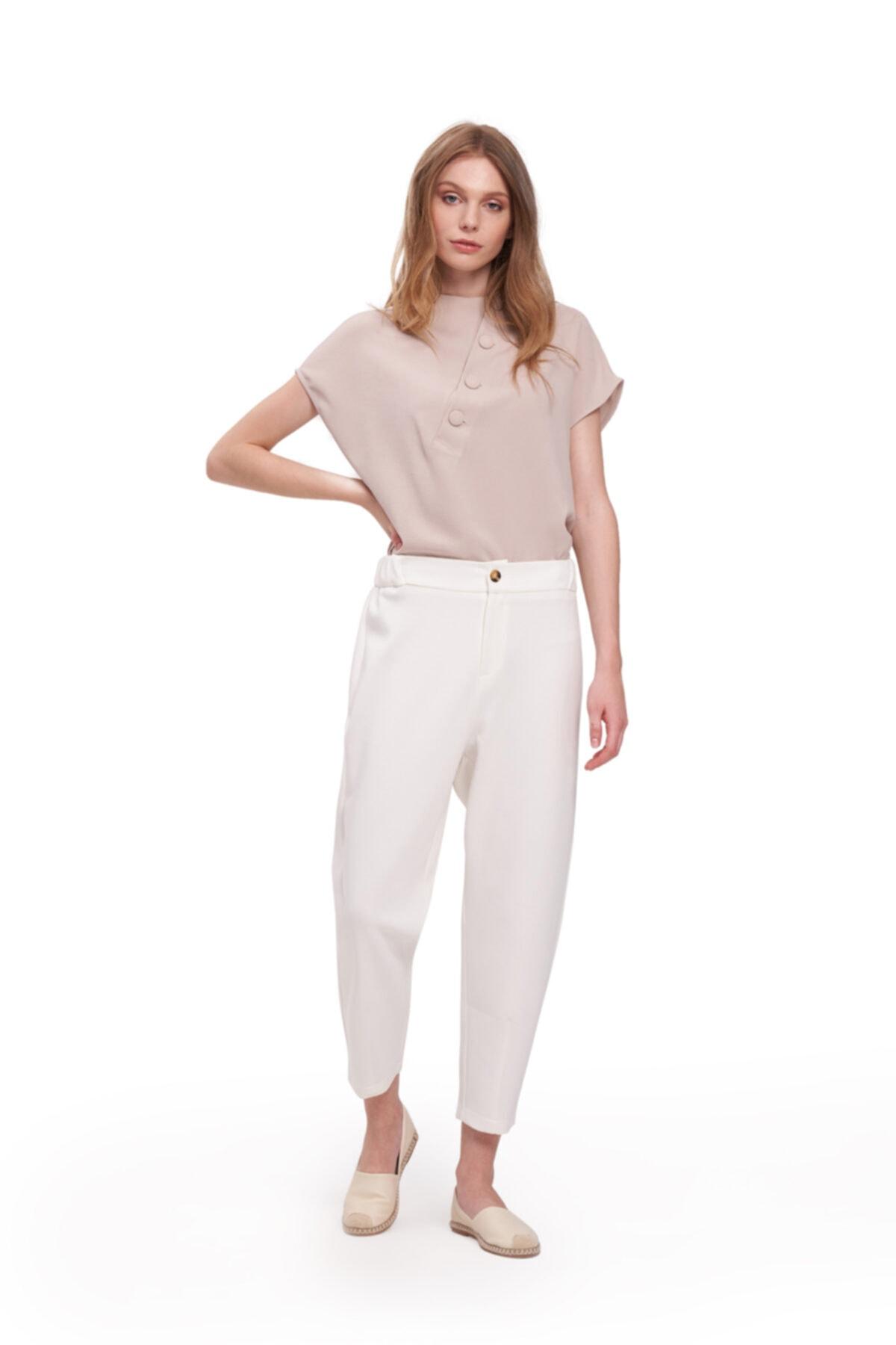 Mizalle Üç Iplik Önü Düğmeli Pantolon (ekru) 1