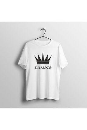moda trend Kadın Beyaz Baskılı Kraliçe Desenli T-shirt