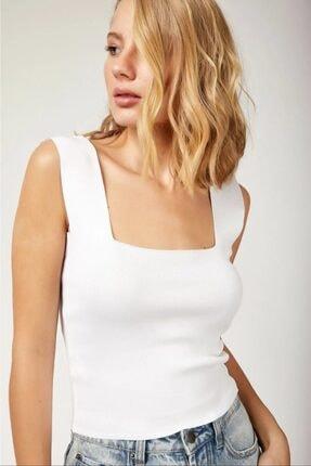 MellowButik Kadın Beyaz Kare Yaka Likralı Fit Crop Bluz