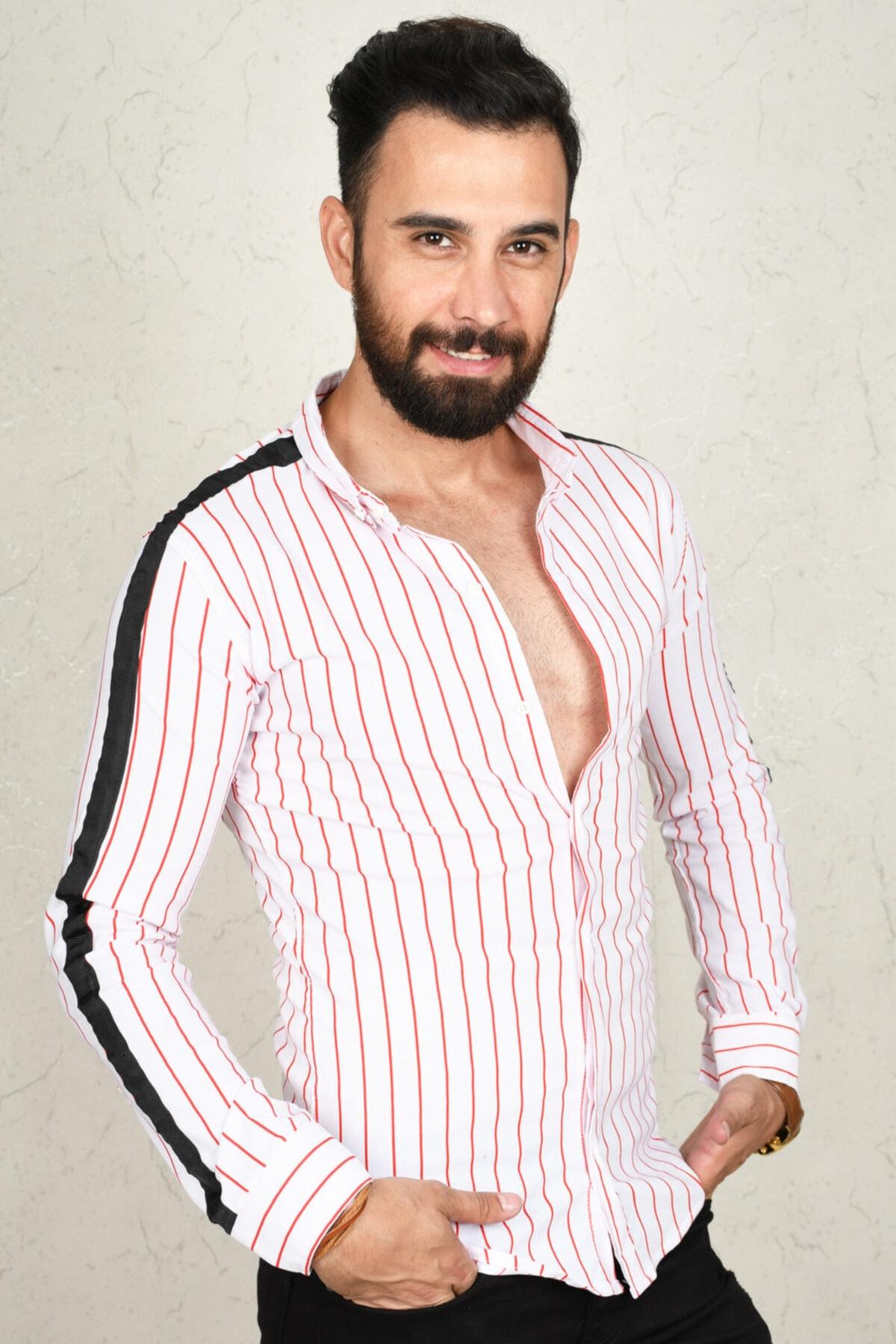 DeepSEA Kırmızı-beyaz Çizgili Kol Şeritli Erkek Gömlek 2002812 1