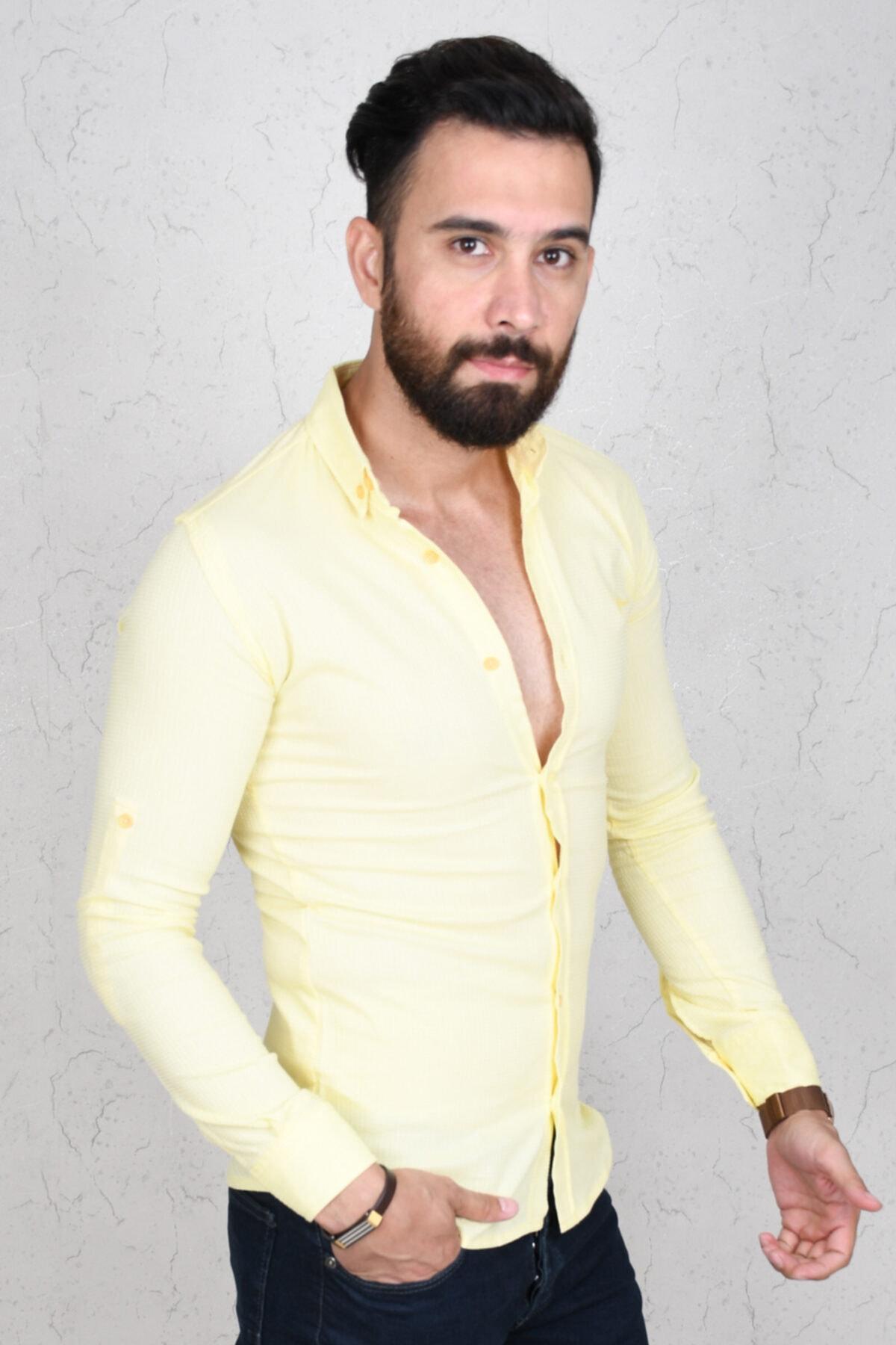 DeepSEA Erkek Sarı Kabartma Kumaş Dar Erkek Gömlek 2