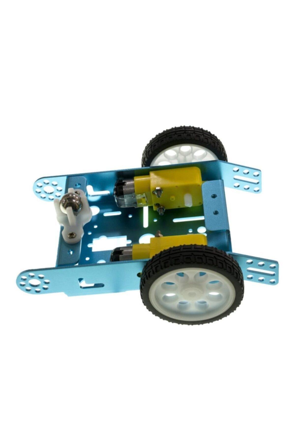 Motorobit 2wd Mbot Alüminyum Araç Kiti - Mavi ( Motor Ve Tekerlek Dahil) 2