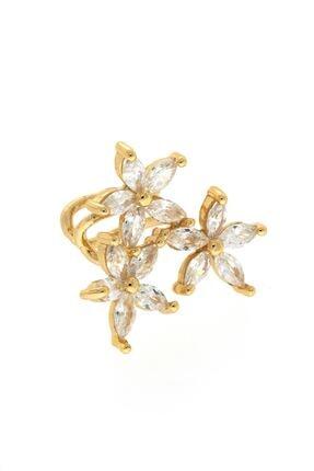 takızamanı Taşlı Çiçek Figürlü Kıkırdak Küpe Gold Renk