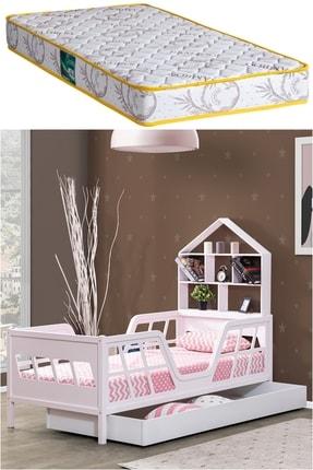 Setay Montessori Yatak, Viva Mdf Yavrulu Montessori Karyola, Pembe Yavrulu Yatak + Comfort Ortopedik Yatak