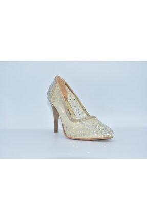Papuç Sarayı Milena Krem Renk Taşlı 7 Cm Bayan Ince Topuklu Ayakkabı