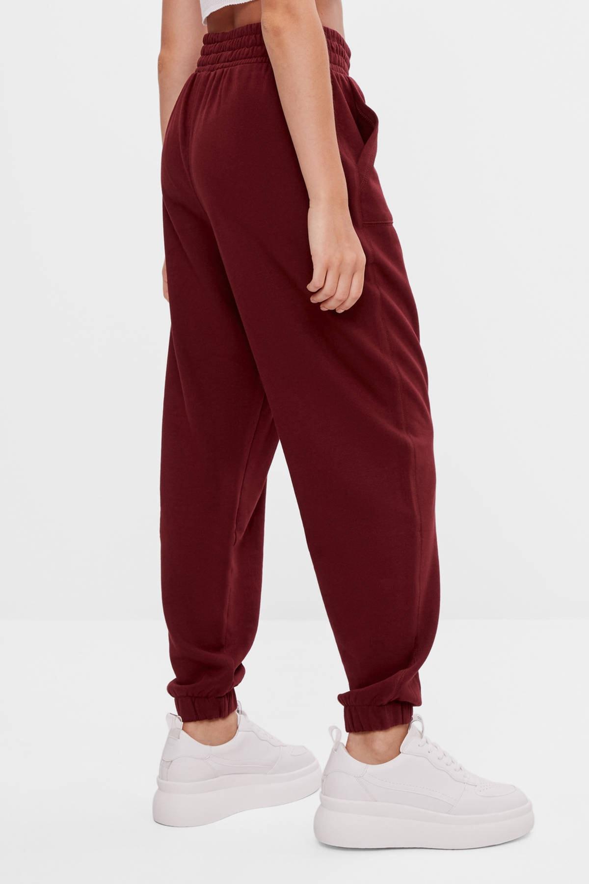 Bershka Kadın Nar Kırmızısı Baskılı Jogging Fit Pantolon 2