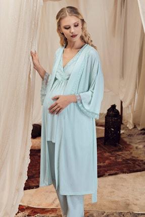 Artış Kadın Yeşil Pamuklu Viskon 3'lü Lohusa Hamile Pijama Takım - 8300