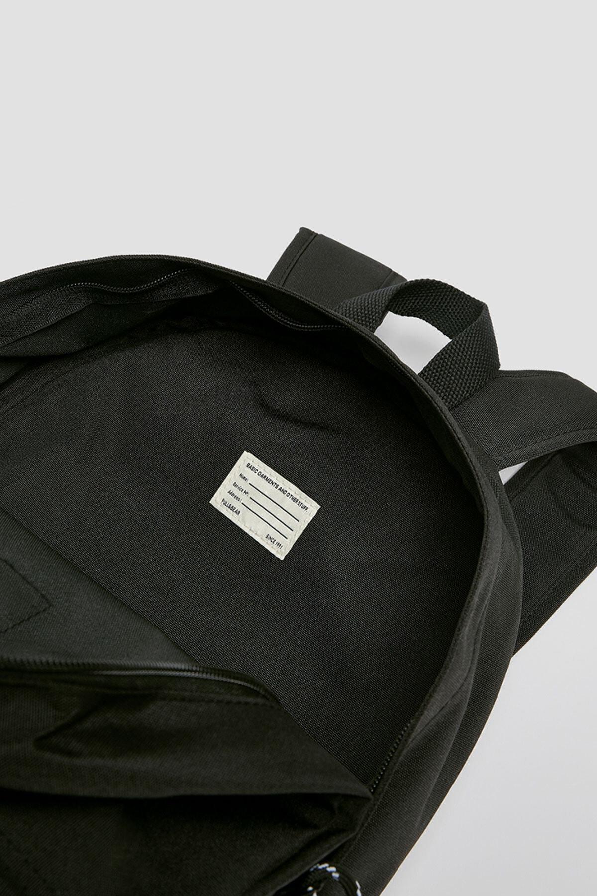 Pull & Bear Kadın Siyah Logolu Sırt Çantası 14000640 2