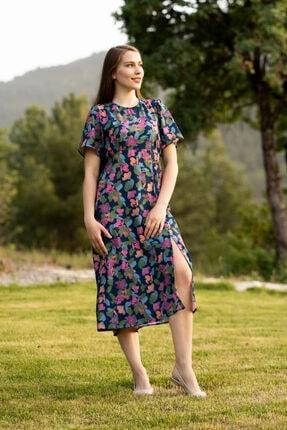 Prego Renkli Önü Yırtmaçlı Elbise