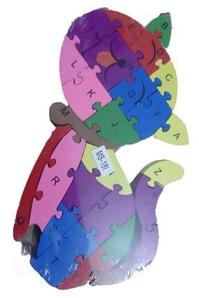 Ahi Kedi Figürlü Rakamlı Eğitici 3d Ahşap Puzzle Yapboz