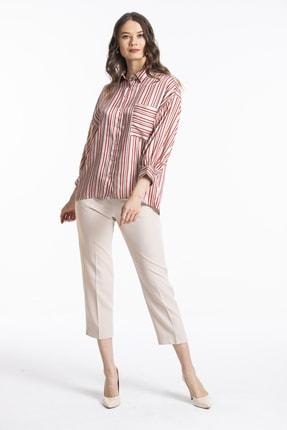 Pitti Kadın Kırmızı Çizgili Saten Gömlek 10206