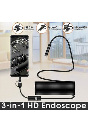 epazzar Endoskop 3 In 1 Yılan Kamera Usb Micro Usb Type-c 10m Sert Kablo