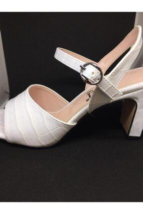 asalinci Inci Croca Beyaz Yeni Sezon Desenli Topuklu Ayakkabı