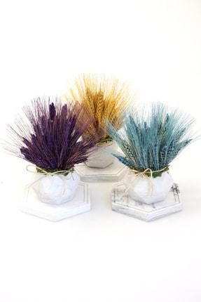 Yapay Çiçek Deposu Renkli Tablalı Mermer Görünümlü Saksıda Başak