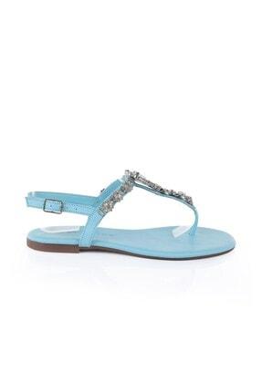Oblavion Kadın Mavi Hakiki Deri Sandalet