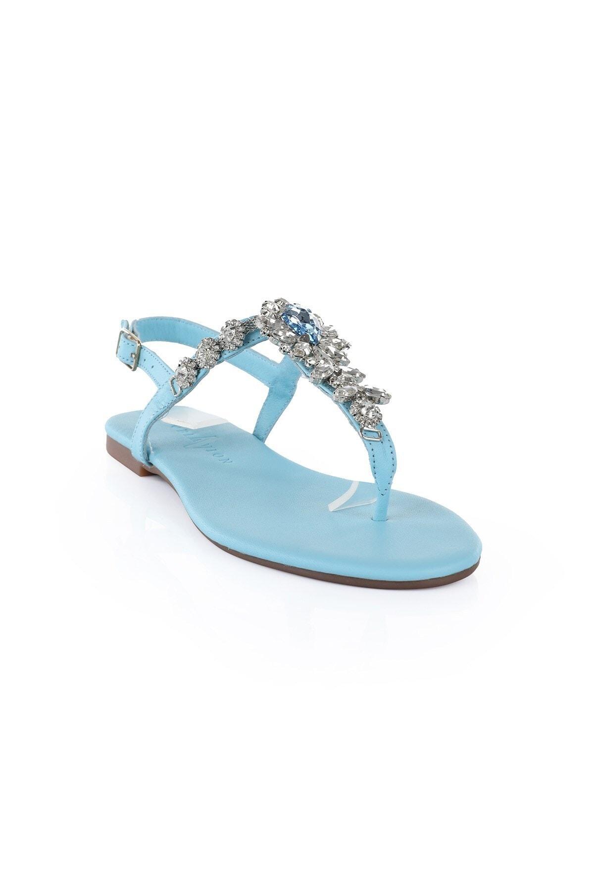 Oblavion Kadın Mavi Hakiki Deri Sandalet 2