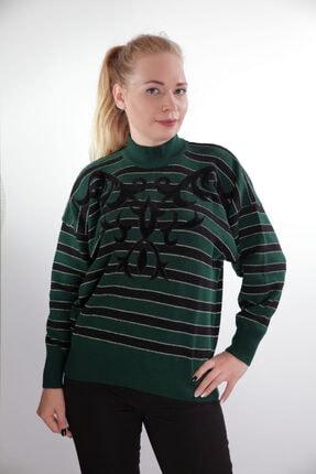 Sude Kadın Yeşil Arda Triko Kazak 409
