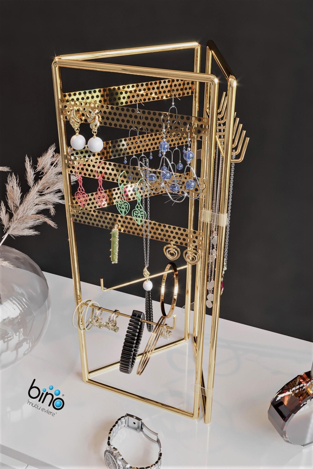 Bino Gold Altın 3'lü Takı Standı, Takılık, Küpelik, Bileklik, Kolye Seti, Takı Dolabı Düzenleyici 2
