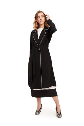 Mizalle Mızalle Biye Detaylı Uzun Krep Ceket (siyah)
