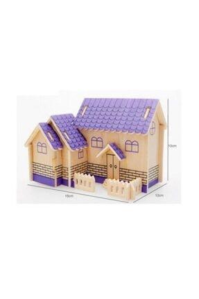 Pi İthalat Çocuk Mor 3D Ahşap Puzzle Ev