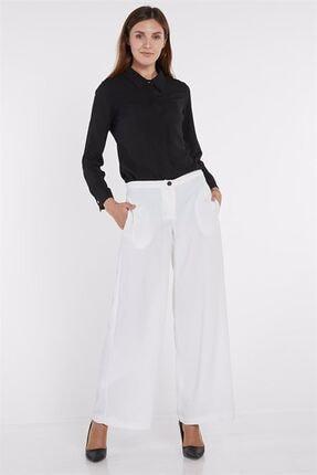 Nihan Kadın Bol Paça Pantolon  Beyaz X4504