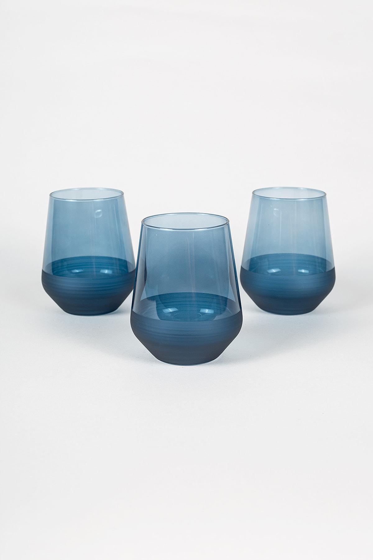 Rakle Matte 3'lü Su Bardağı Seti Mavi 425 cc 1