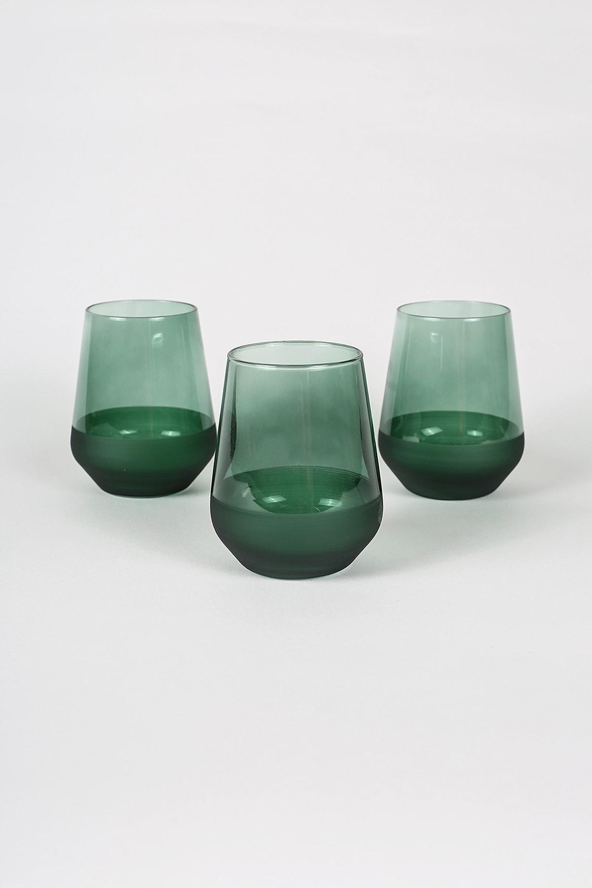 Rakle Matte 3'lü Su Bardağı Seti Yeşil 425 cc 1