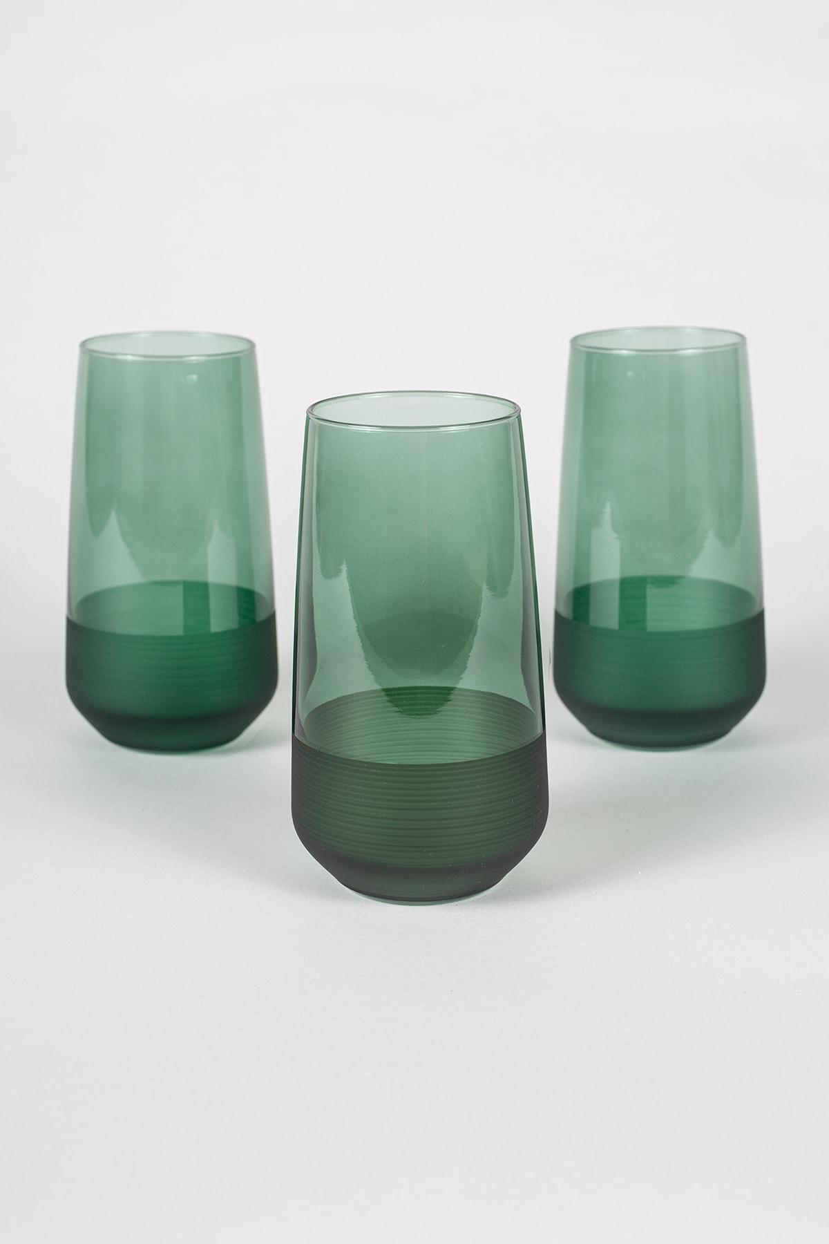 Rakle Matte 3'lü Meşrubat Bardağı Seti Yeşil 470 cc 1