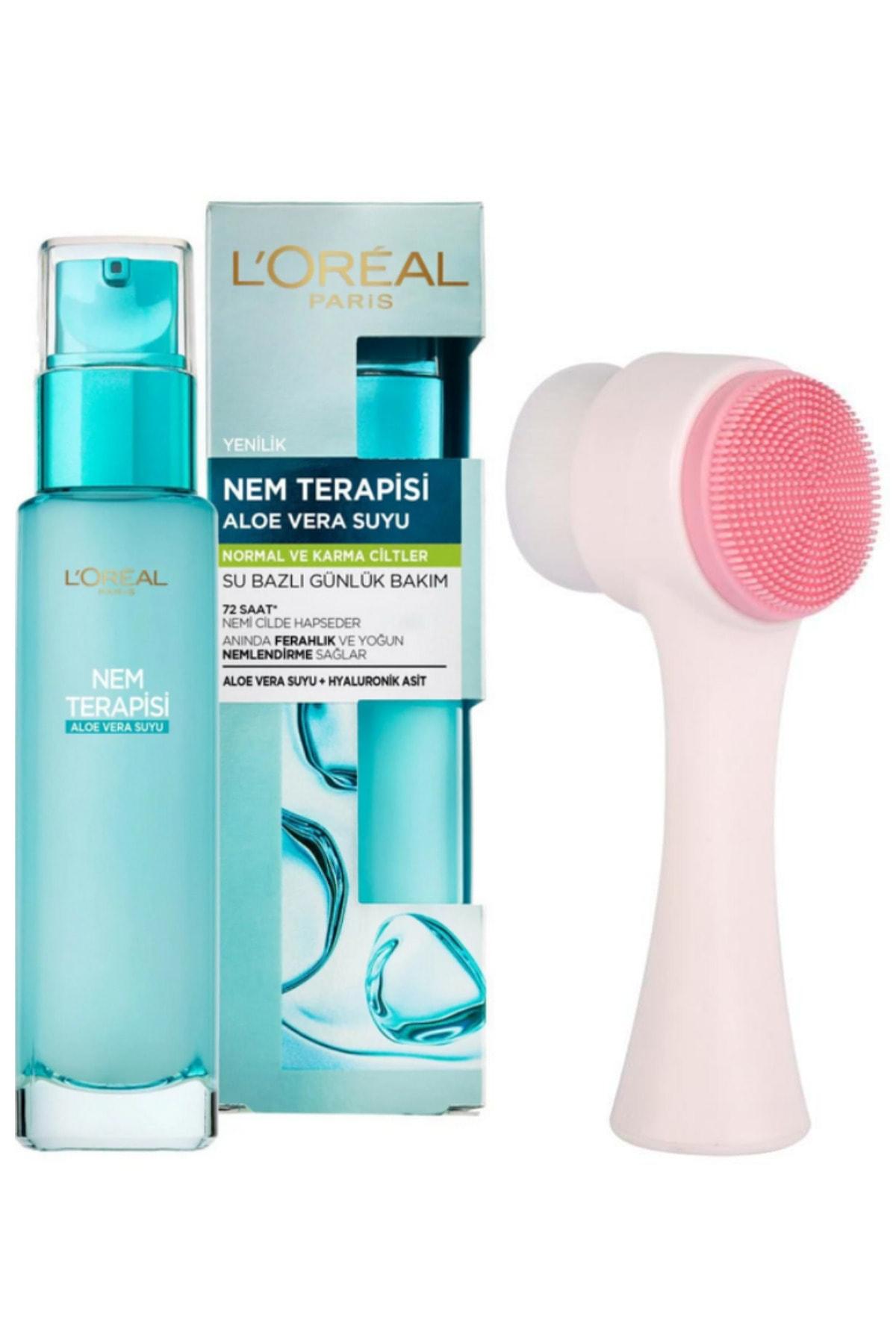 L'Oreal Paris Nem Terapisi Aloe Vera Suyu Normalden Karmaya Ciltler Ve Fluweel Cilt Temizleme Fırçası 1