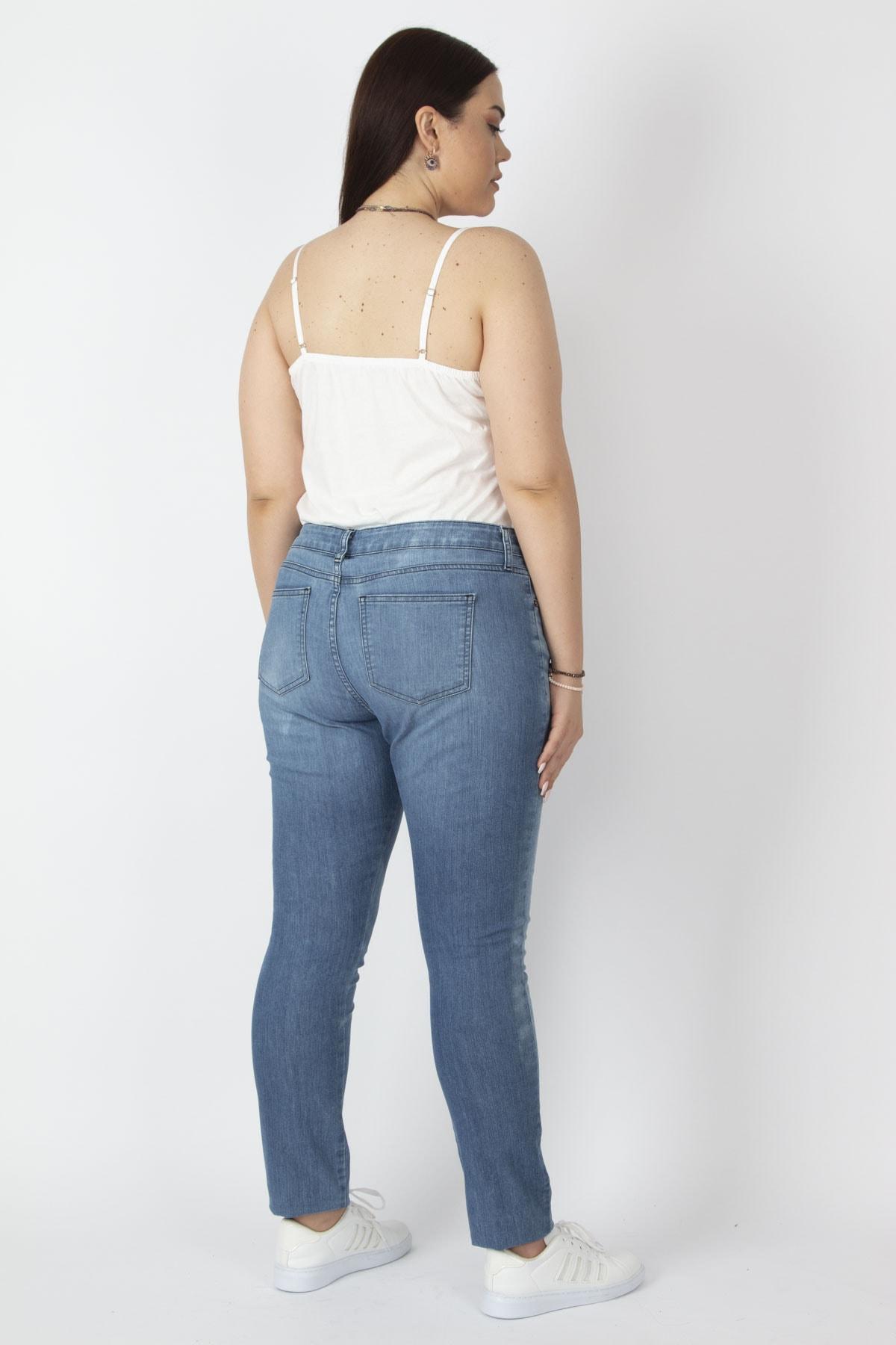 Şans Kadın Mavi Likralı 5 Cep Kot Pantolon 65N17125 2