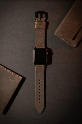 minimal X design Minimal X Apple Watch Kordonu 42/44 Mm - Kestane Crazy Gerçek Deri & El Yapımı
