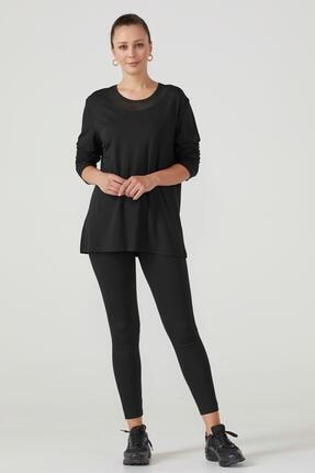 Sementa Kadın Triko Yaka Uzun Kol Bluz - Siyah