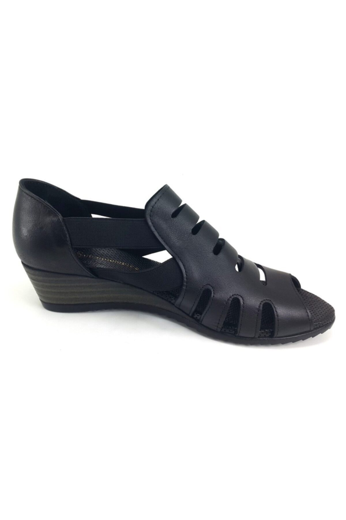Mammamia Kadın Siyah Dolgu Topuklu Sandalet 2