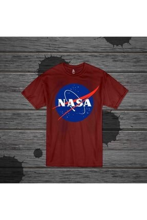 Panda Unisex Nasa Baskılı Bordo T-shirt