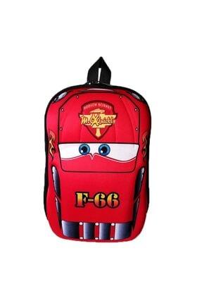 BigSale Çocuk Kırmızı  Yarış Arabası 5d Boyutlu Anaokulu Sırt Çantası