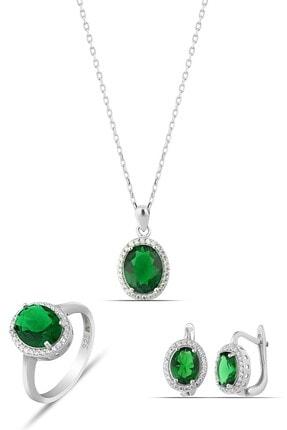 MySilvers Yeşil Taşlı Elips Gümüş Set