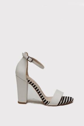Metin Taka Gips Beyaz Ekose Detaylı, Tek Bantlı Ayakkabı